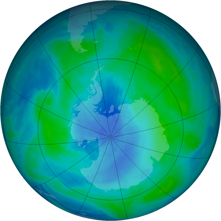 Antarctic ozone map for 20 February 2001