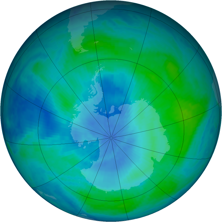 Antarctic ozone map for 23 February 2001