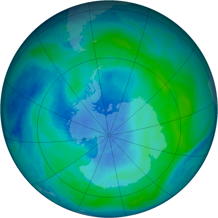 Antarctic ozone map for 24 February 2001