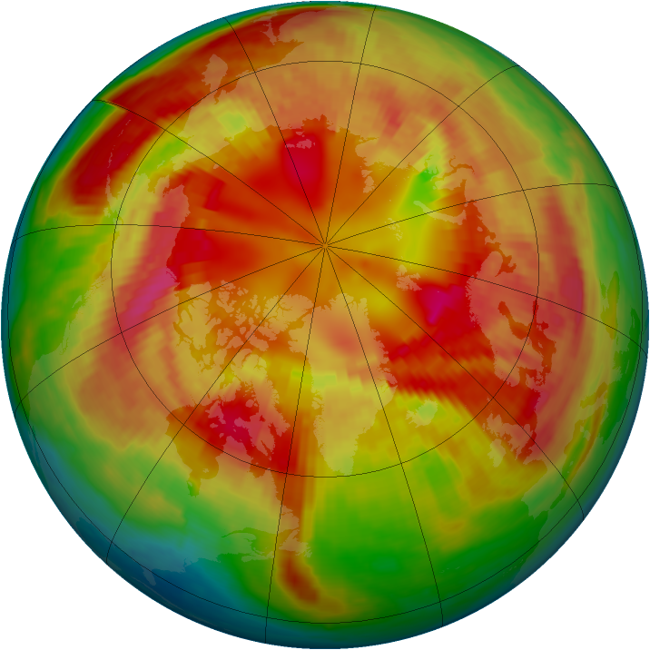 Arctic ozone map for 25 February 2001