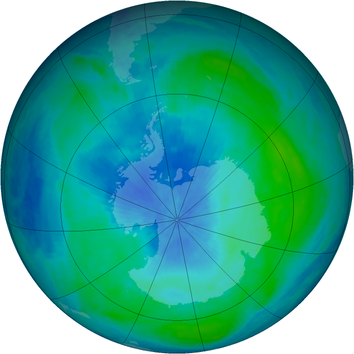 Antarctic ozone map for 25 February 2001