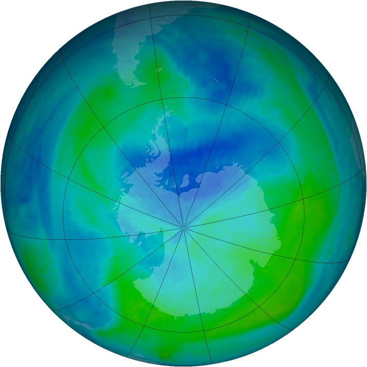 Antarctic ozone map for 01 March 2001