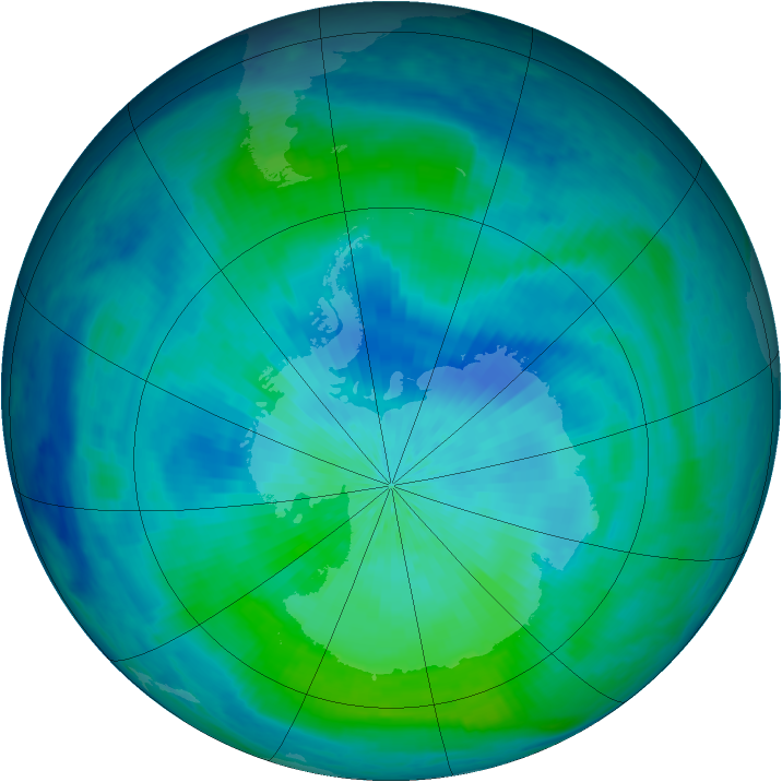Antarctic ozone map for 05 March 2001