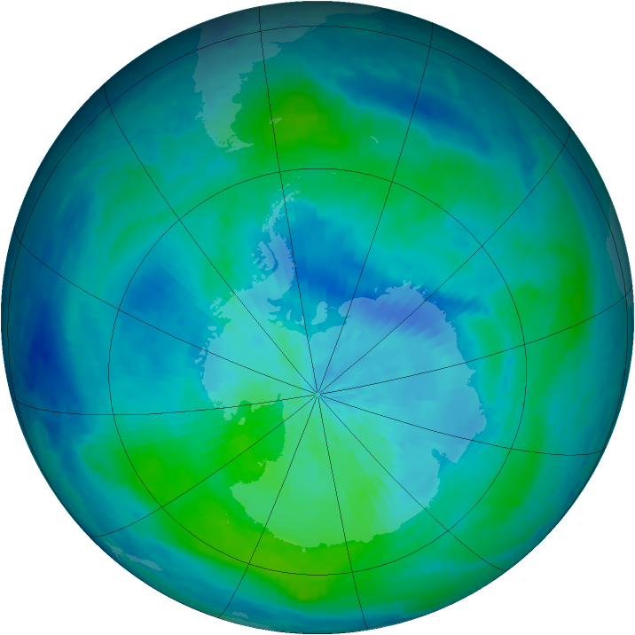 Antarctic ozone map for 06 March 2001