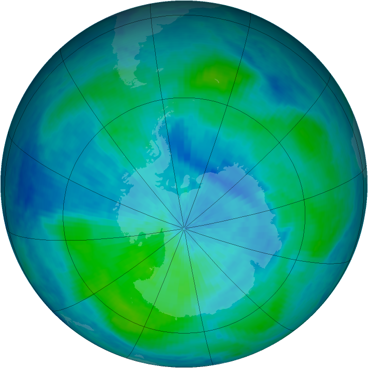Antarctic ozone map for 07 March 2001