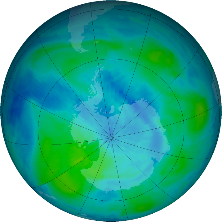 Antarctic ozone map for 08 March 2001