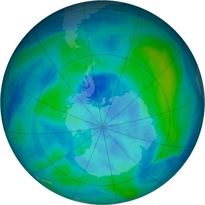 Antarctic ozone map for 14 March 2001