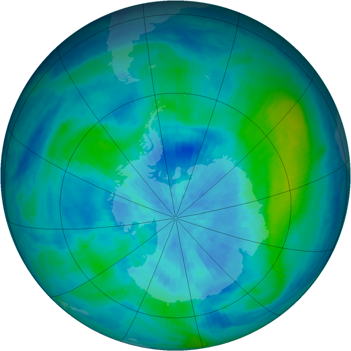 Antarctic ozone map for 15 March 2001