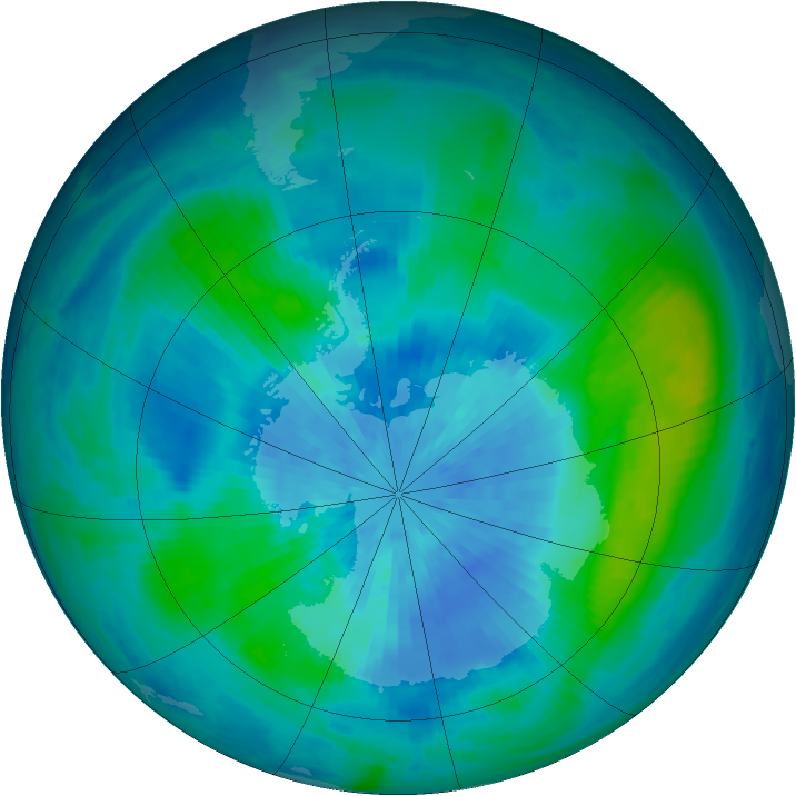 Antarctic ozone map for 16 March 2001