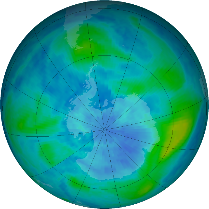 Antarctic ozone map for 18 March 2001