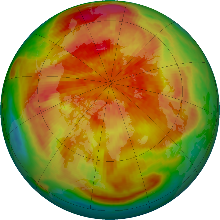 Arctic ozone map for 20 March 2001
