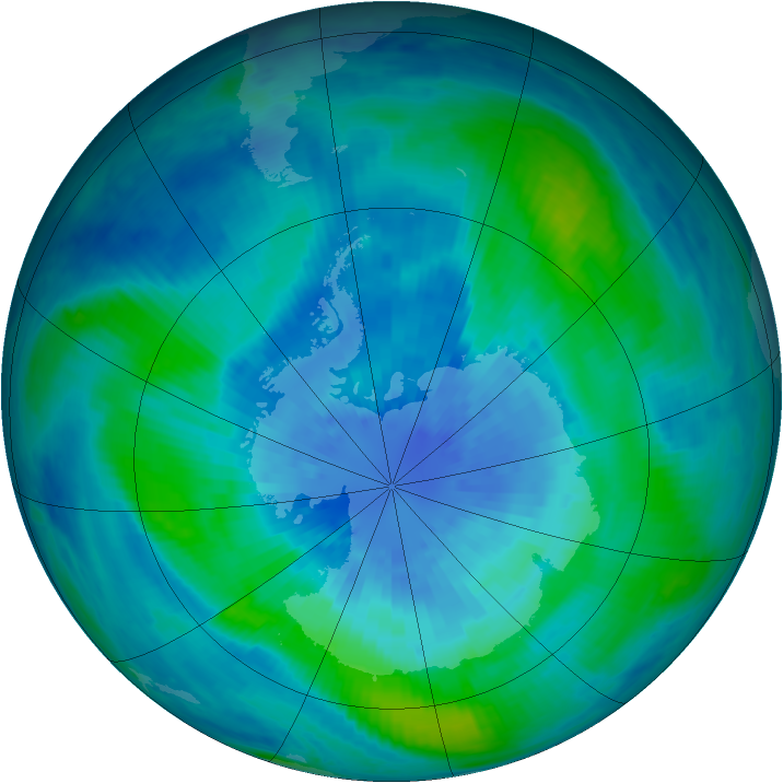 Antarctic ozone map for 22 March 2001