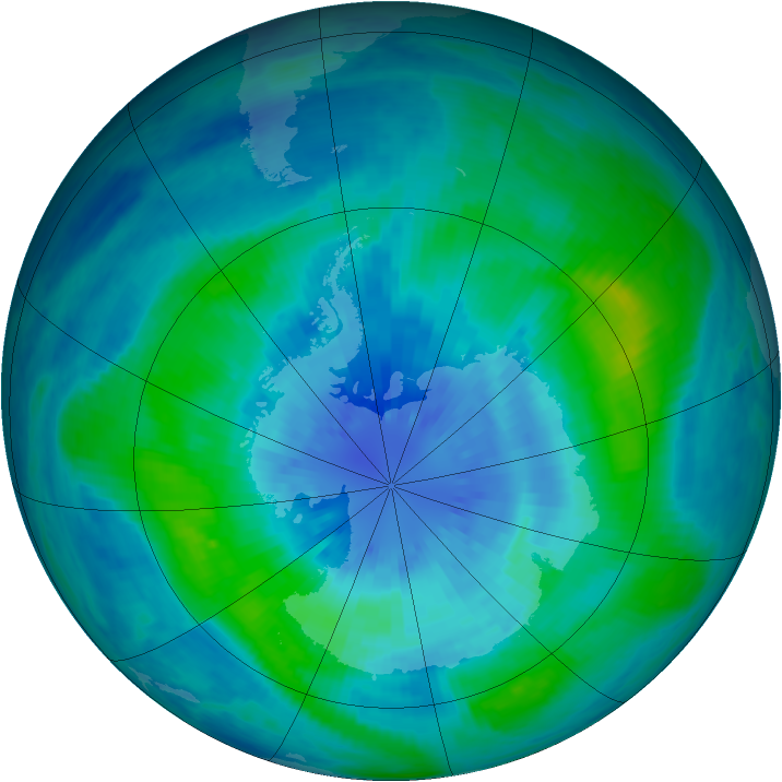 Antarctic ozone map for 24 March 2001