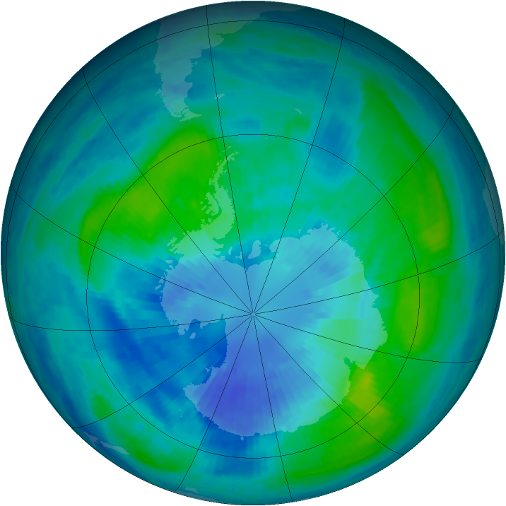 Antarctic ozone map for 28 March 2001