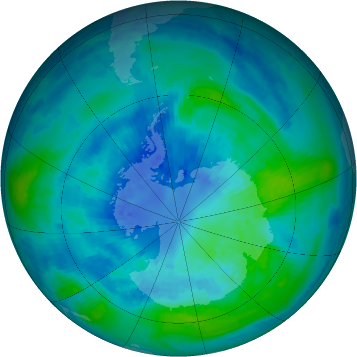 Antarctic ozone map for 03 April 2001