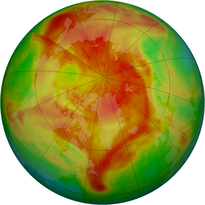 Arctic ozone map for 08 April 2001