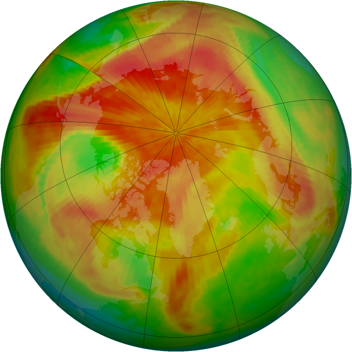 Arctic ozone map for 13 April 2001