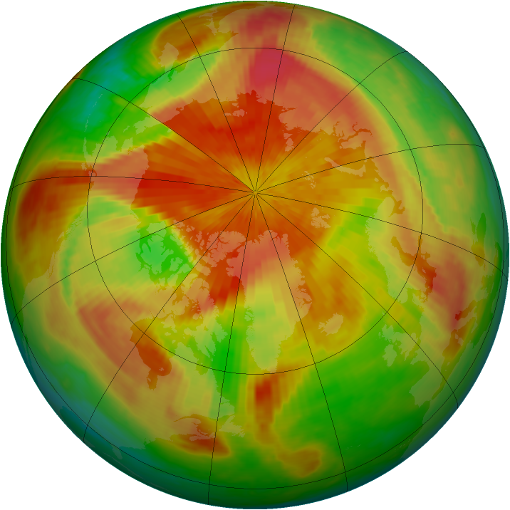 Arctic ozone map for 14 April 2001