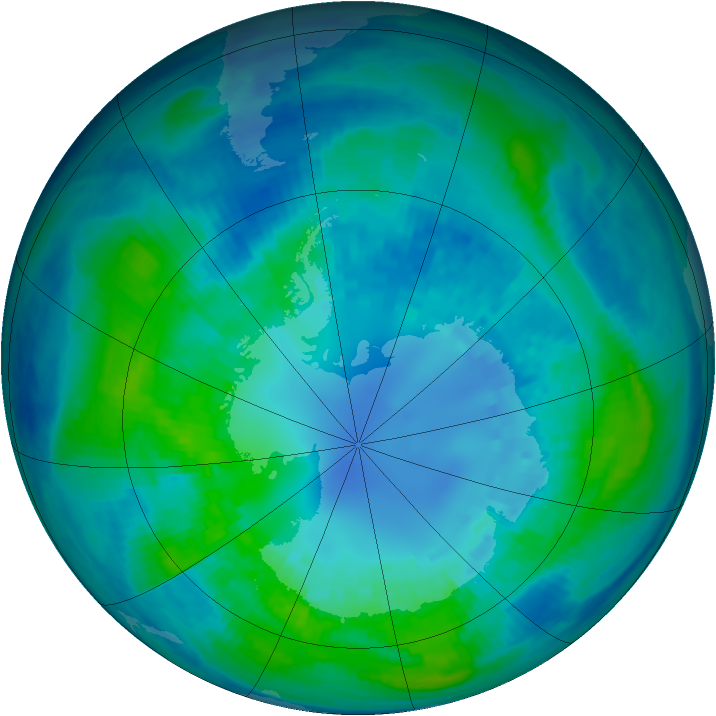 Antarctic ozone map for 17 April 2001
