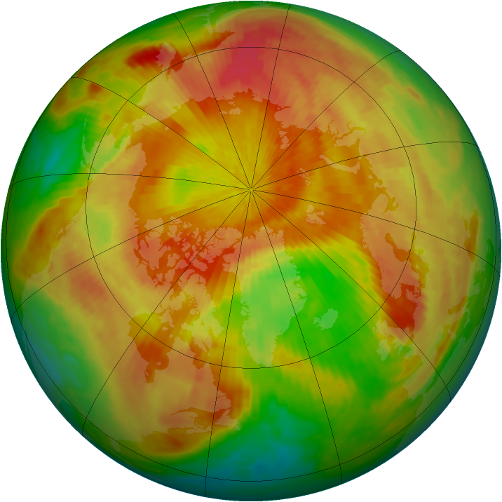 Arctic ozone map for 19 April 2001