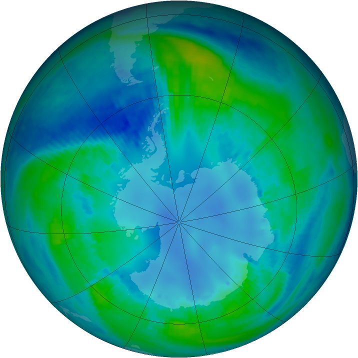 Antarctic ozone map for 28 April 2001