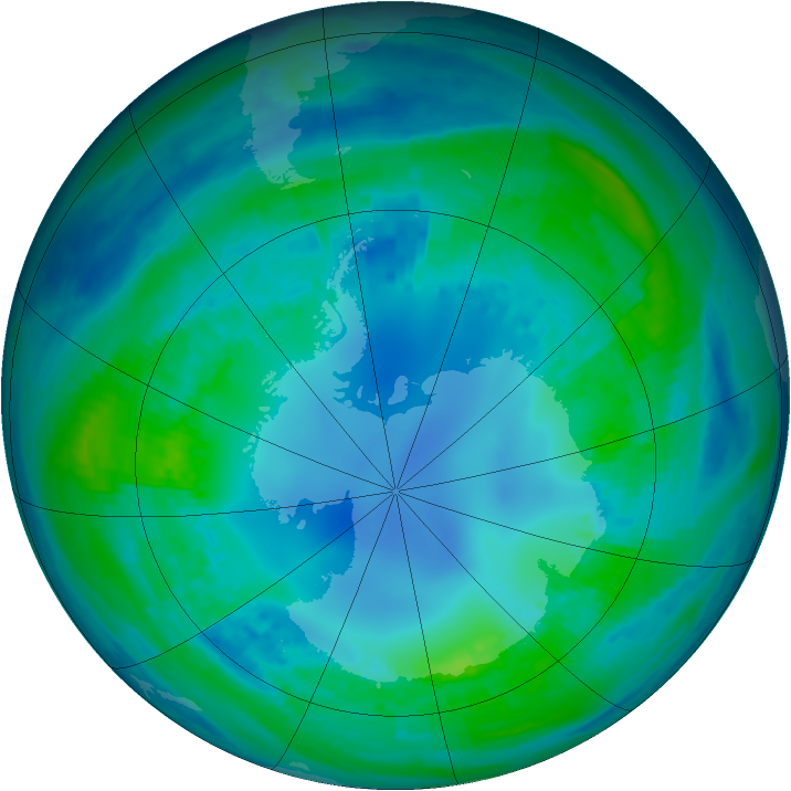 Antarctic ozone map for 01 May 2001