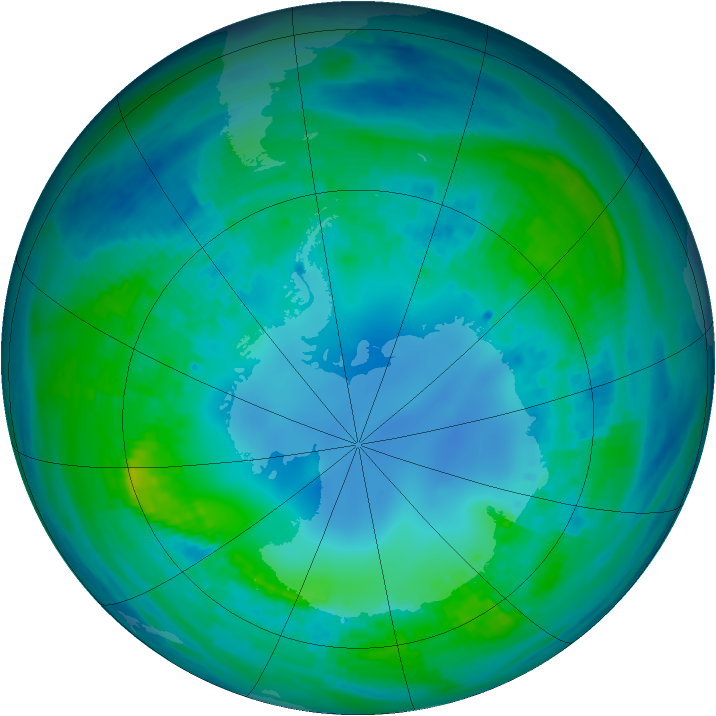Antarctic ozone map for 02 May 2001