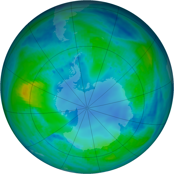 Antarctic ozone map for 03 May 2001