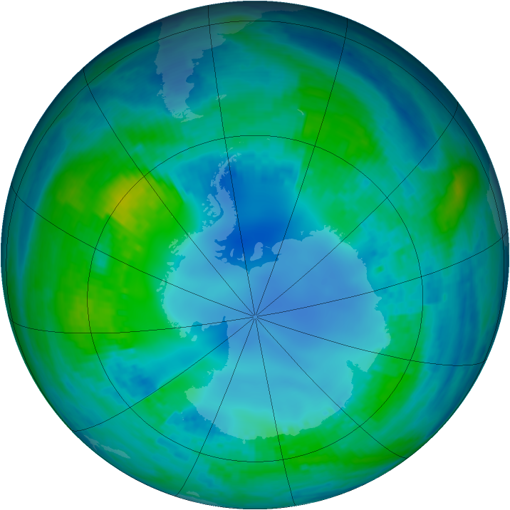Antarctic ozone map for 04 May 2001