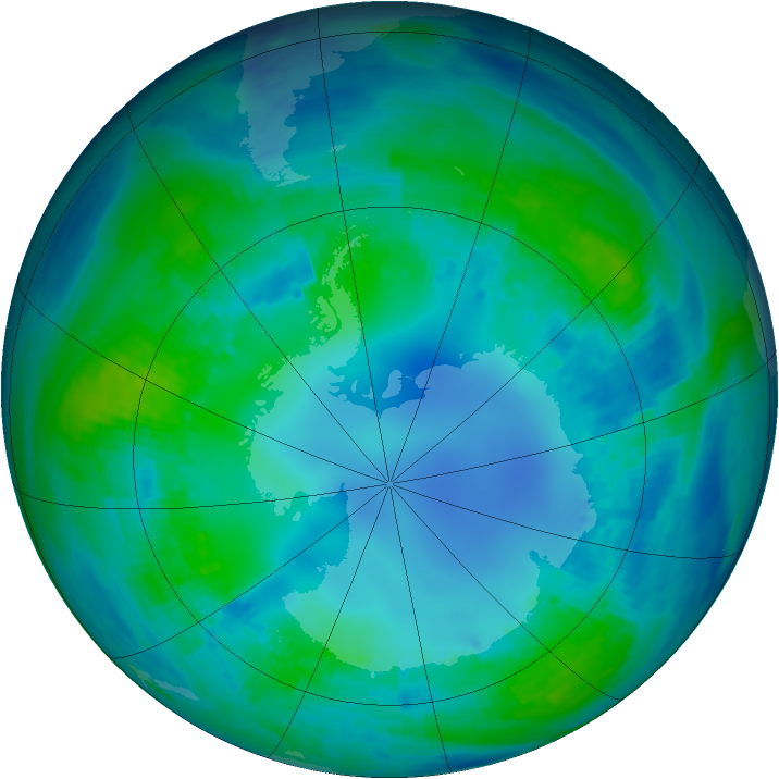 Antarctic ozone map for 05 May 2001