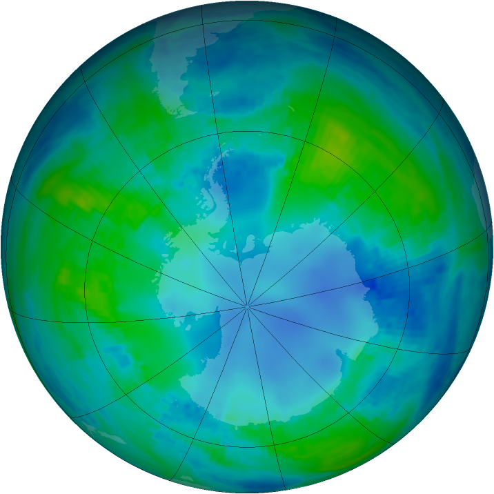 Antarctic ozone map for 06 May 2001