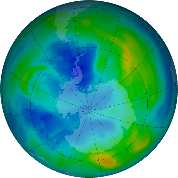 Antarctic ozone map for 14 May 2001