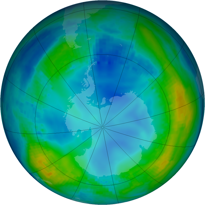 Antarctic ozone map for 22 May 2001