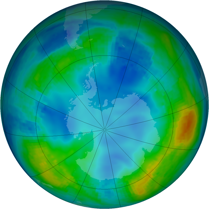 Antarctic ozone map for 23 May 2001