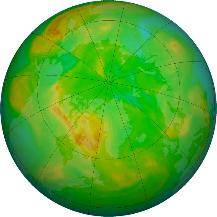 Arctic ozone map for 22 June 2001