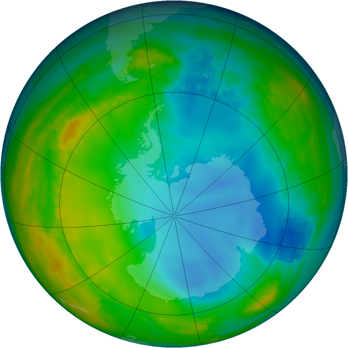 Antarctic ozone map for 01 July 2001