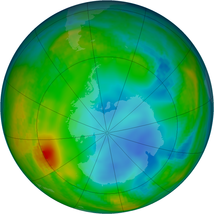 Antarctic ozone map for 03 July 2001