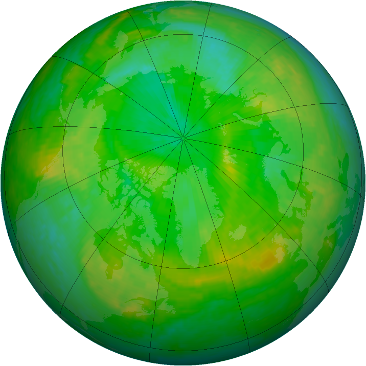 Arctic ozone map for 10 July 2001
