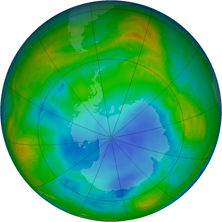 Antarctic ozone map for 13 July 2001