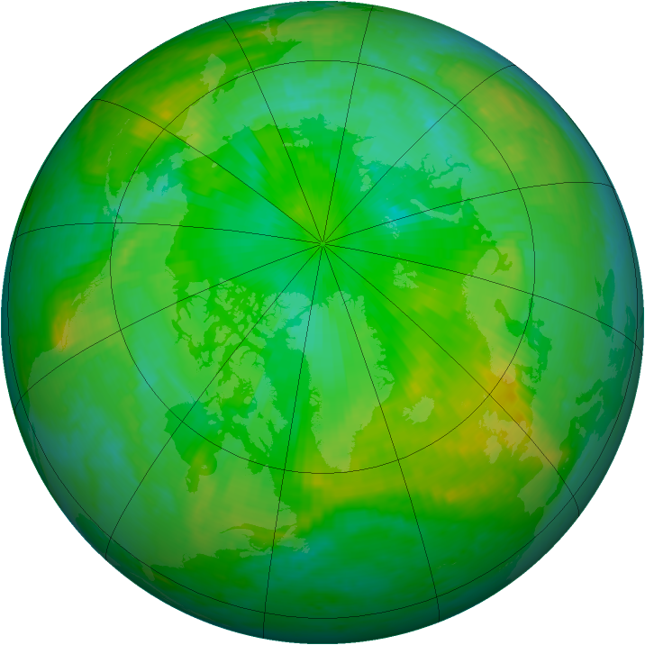 Arctic ozone map for 15 July 2001