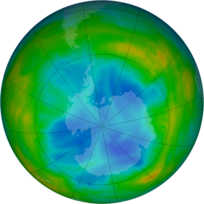 Antarctic ozone map for 18 July 2001