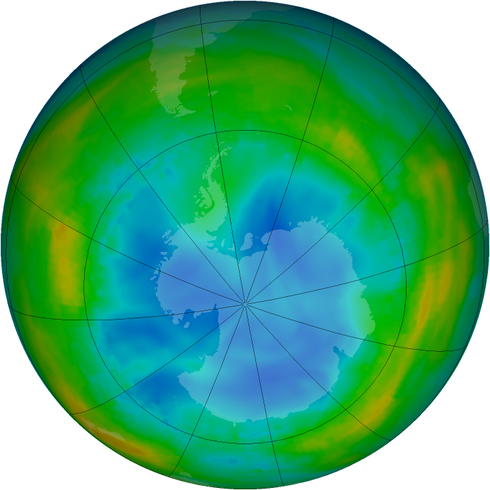 Antarctic ozone map for 19 July 2001