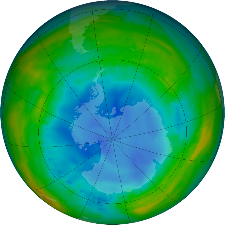 Antarctic ozone map for 20 July 2001