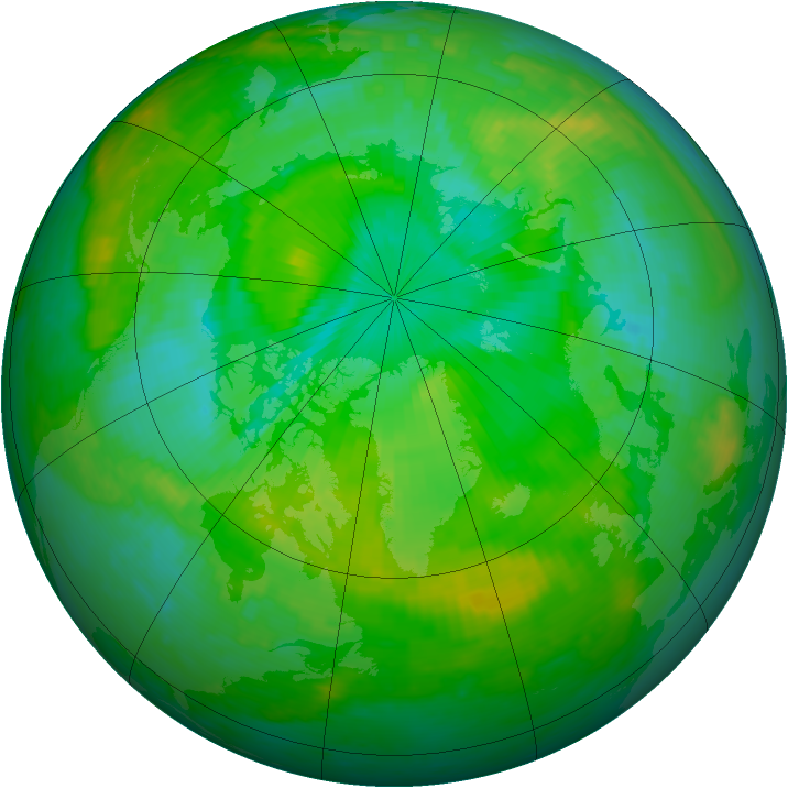 Arctic ozone map for 22 July 2001