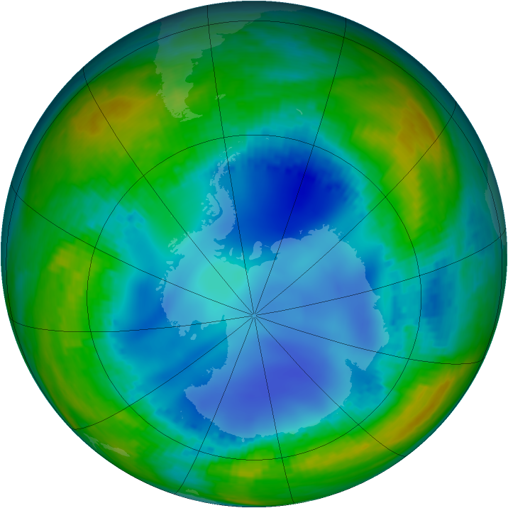 Antarctic ozone map for 31 July 2001