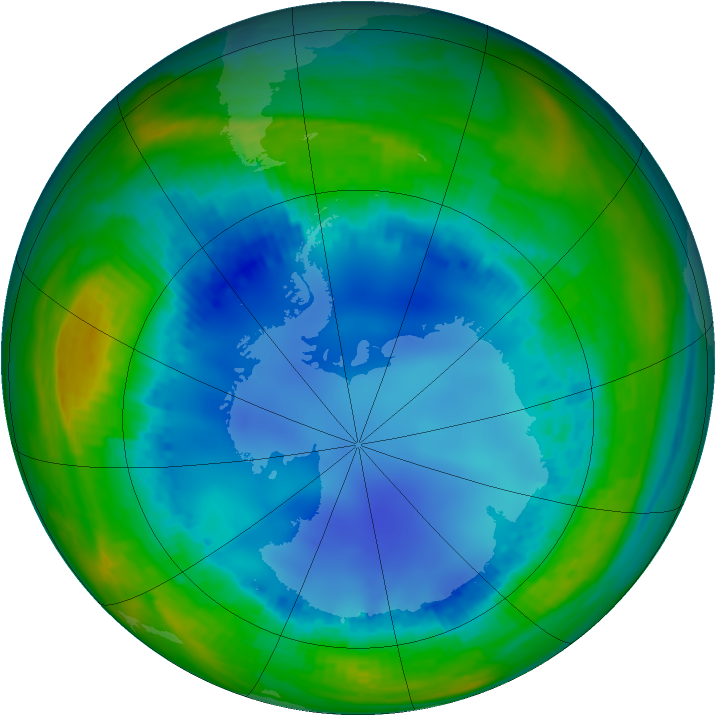 Antarctic ozone map for 03 August 2001