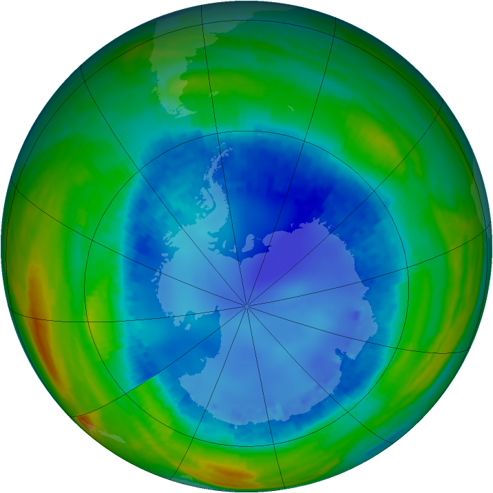 Antarctic ozone map for 16 August 2001