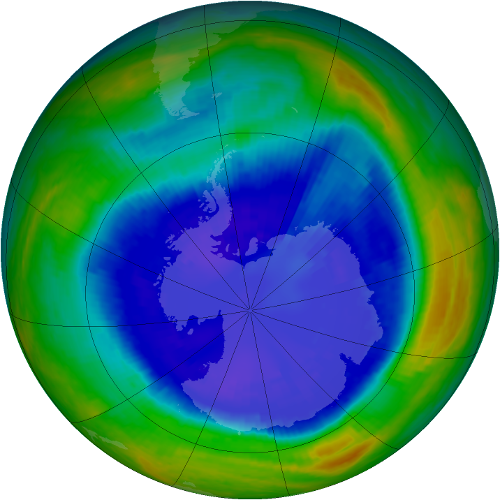 Antarctic ozone map for 05 September 2001