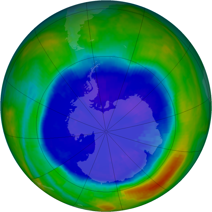 Antarctic ozone map for 07 September 2001