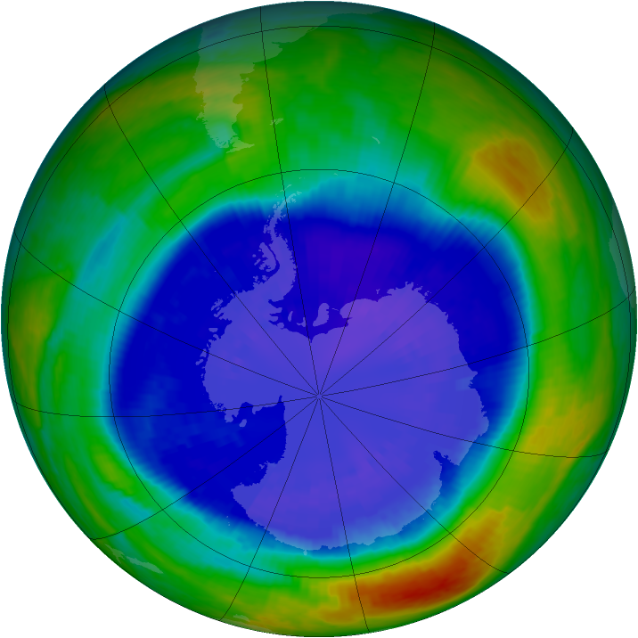 Antarctic ozone map for 08 September 2001